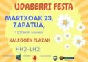 Zapatuan izango da Udaberri Festa